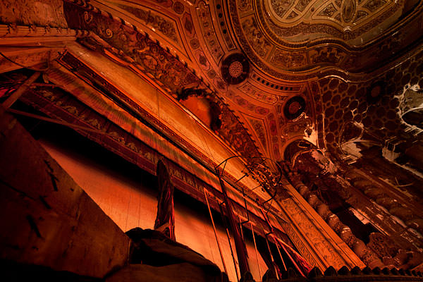 abandoned theater stage curtain