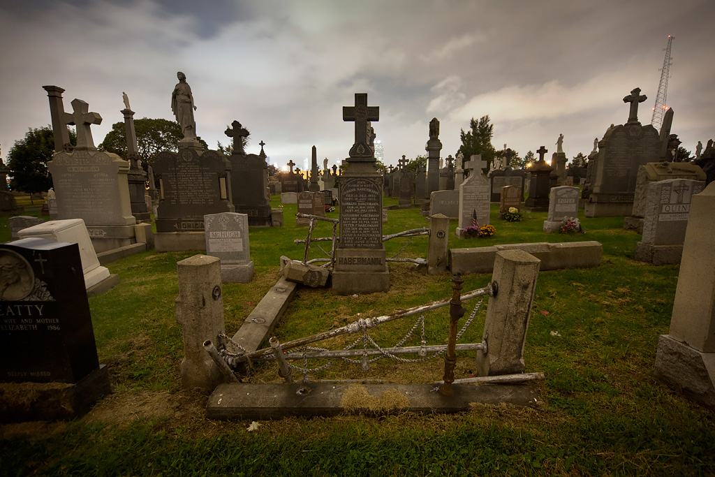 Night photography of Calvary Cemetery, by Tom Kirsch opacity.us